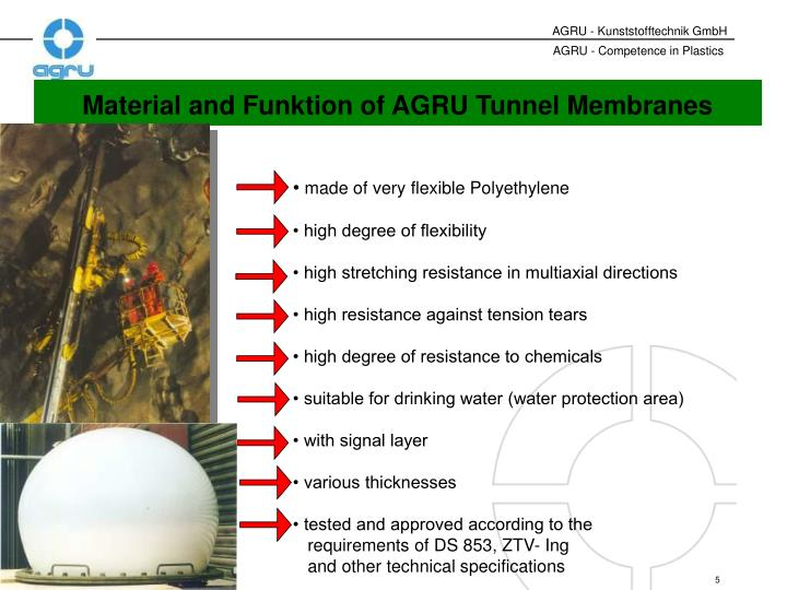 Material and Funktion of AGRU Tunnel Membranes