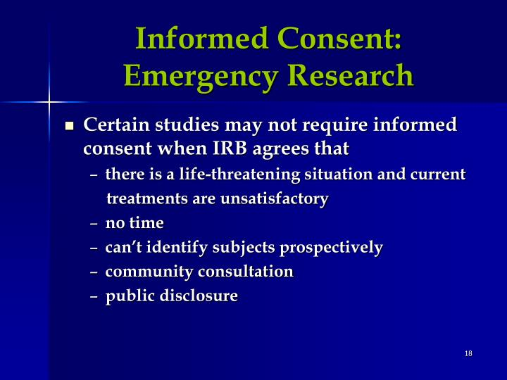 Informed Consent:  Emergency Research
