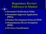 regulatory review pathways to market