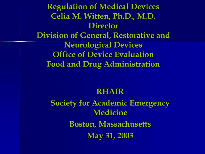 Rhair society for academic emergency medicine boston massachusetts may 31 2003