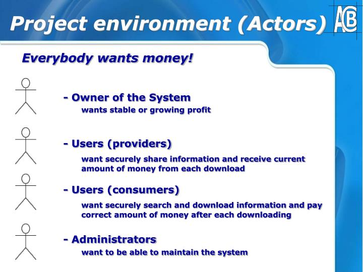Project environment (Actors)