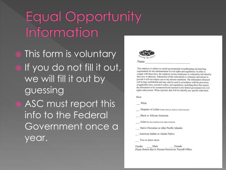 Equal Opportunity Information
