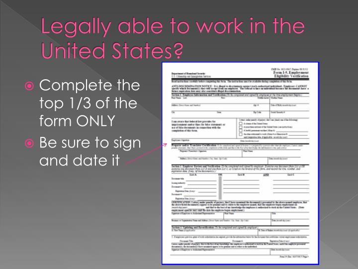 Legally able to work in the United States?