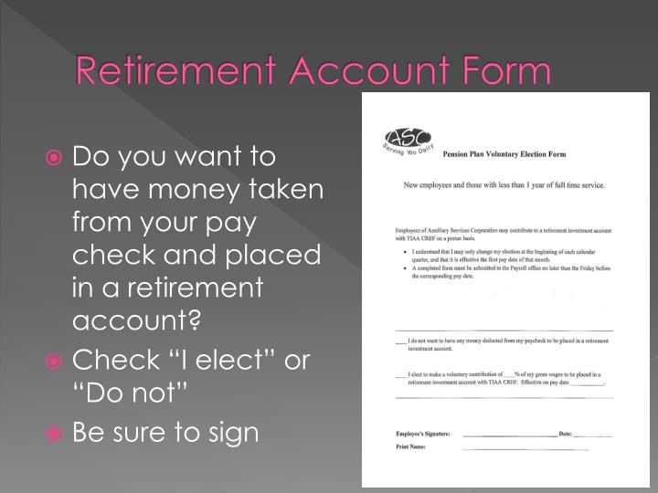 Retirement Account Form