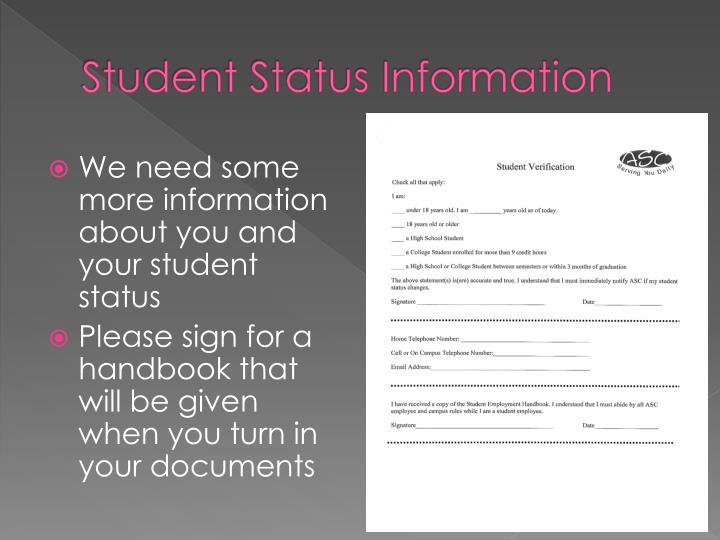Student Status Information