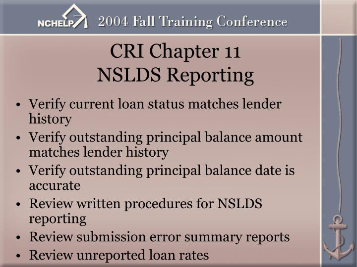 CRI Chapter 11