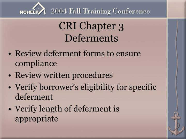 CRI Chapter 3