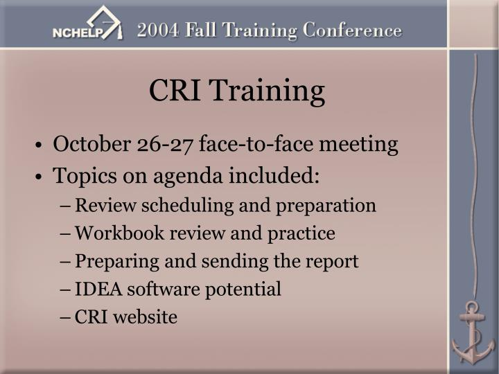 October 26-27 face-to-face meeting