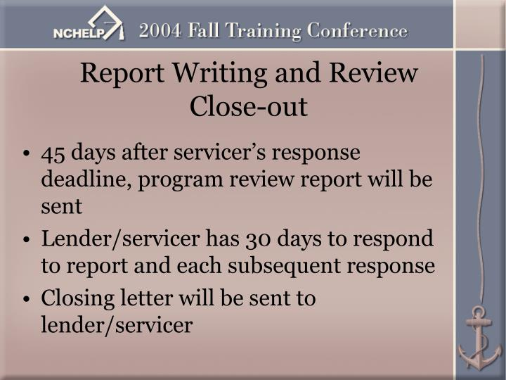 Report Writing and Review