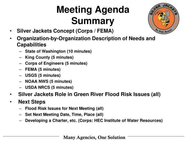 Meeting agenda summary