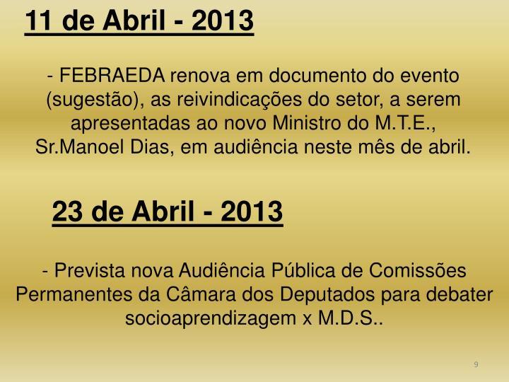 11 de Abril - 2013