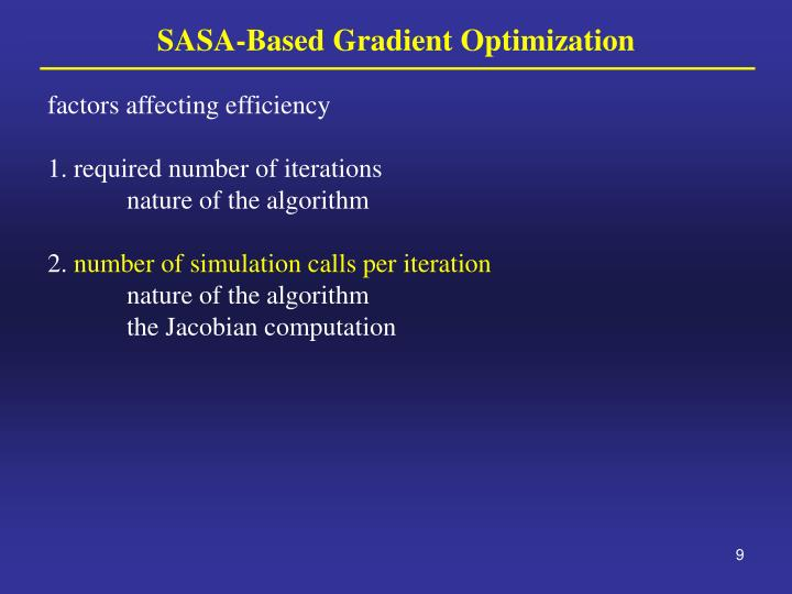 SASA-Based Gradient Optimization