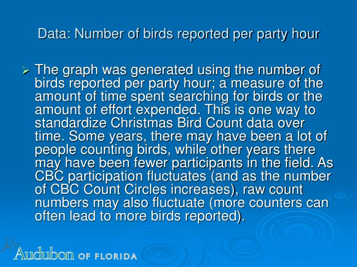 Data: Number of birds reported per party hour