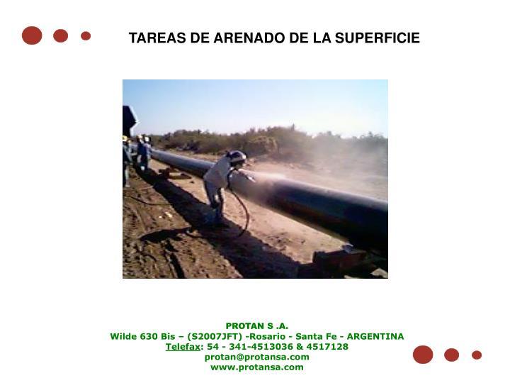 TAREAS DE ARENADO DE LA SUPERFICIE