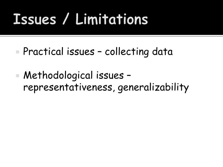 Issues / Limitations