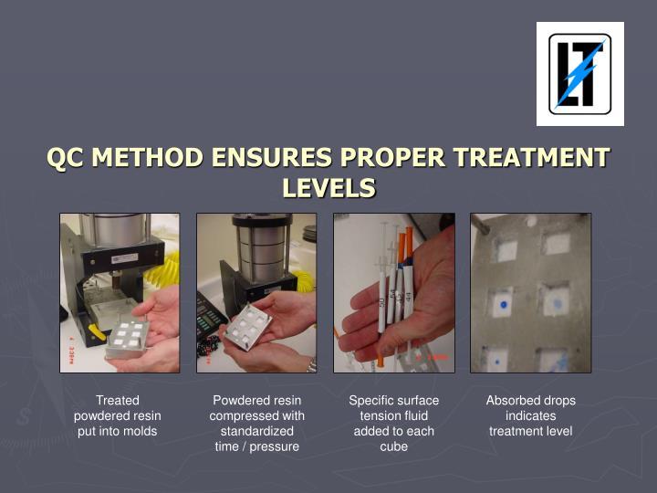 QC METHOD ENSURES PROPER TREATMENT LEVELS
