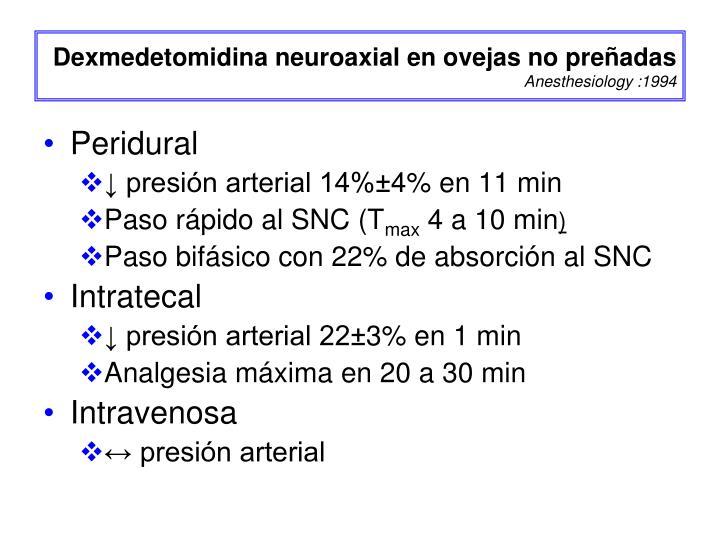 Dexmedetomidina neuroaxial en ovejas no preñadas
