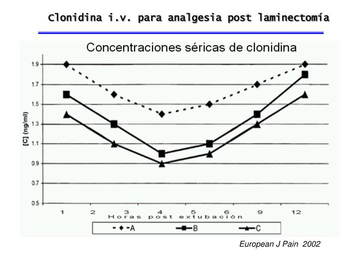 Clonidina i.v. para analgesia post laminectomía