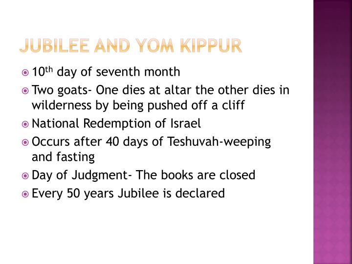 Jubilee and Yom Kippur
