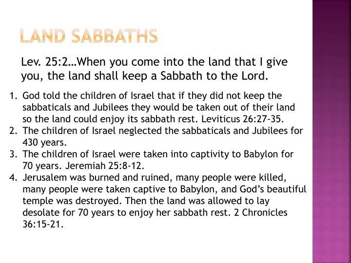 Land Sabbaths