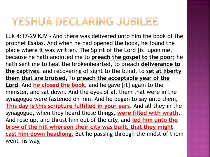 Yeshua Declaring Jubilee