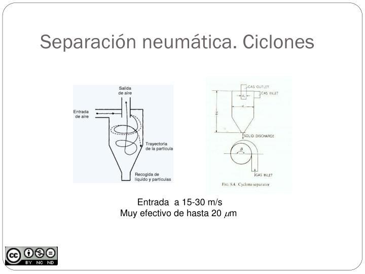 Separación neumática. Ciclones