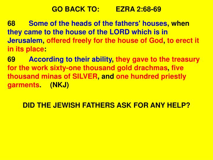GO BACK TO:EZRA 2:68-69