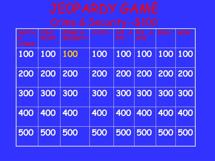 JE0PARDY GAME