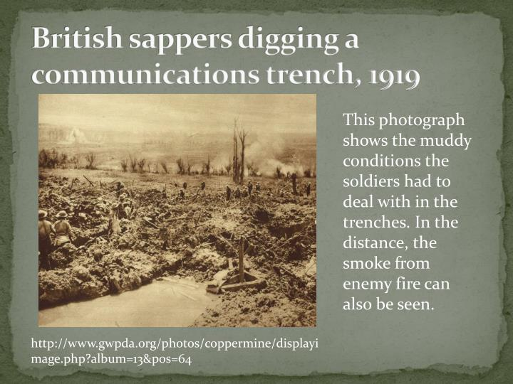 British sappers digging a communications trench 1919