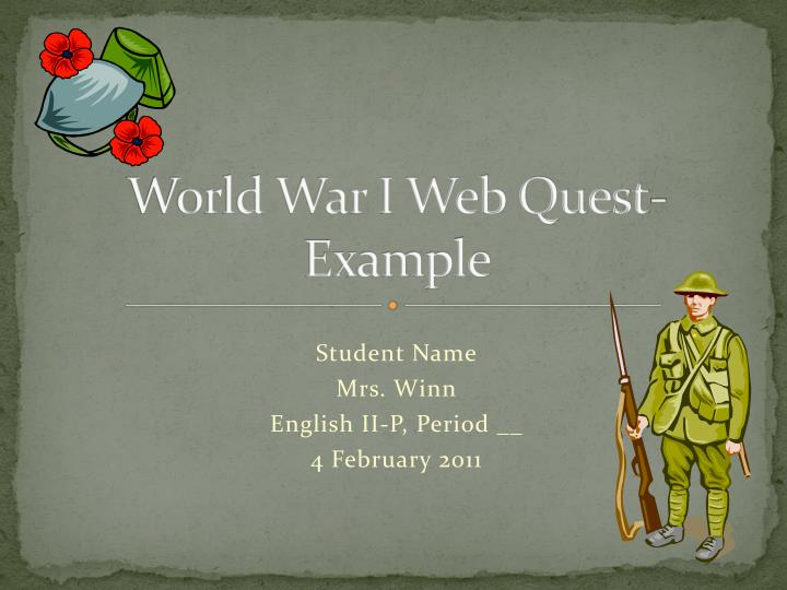 World war i web quest example