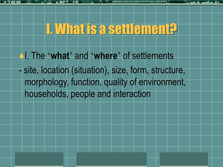 I what is a settlement