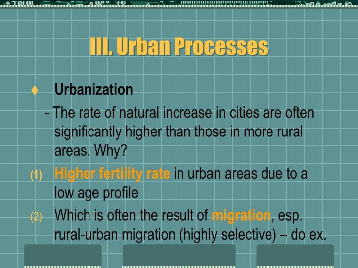 III. Urban Processes