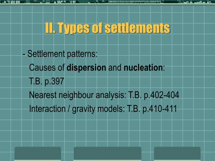 II. Types of settlements