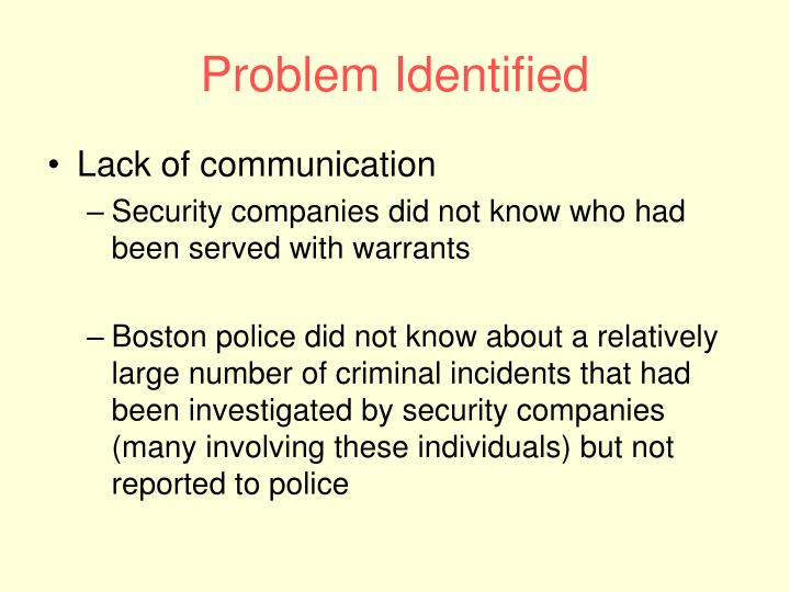Problem Identified
