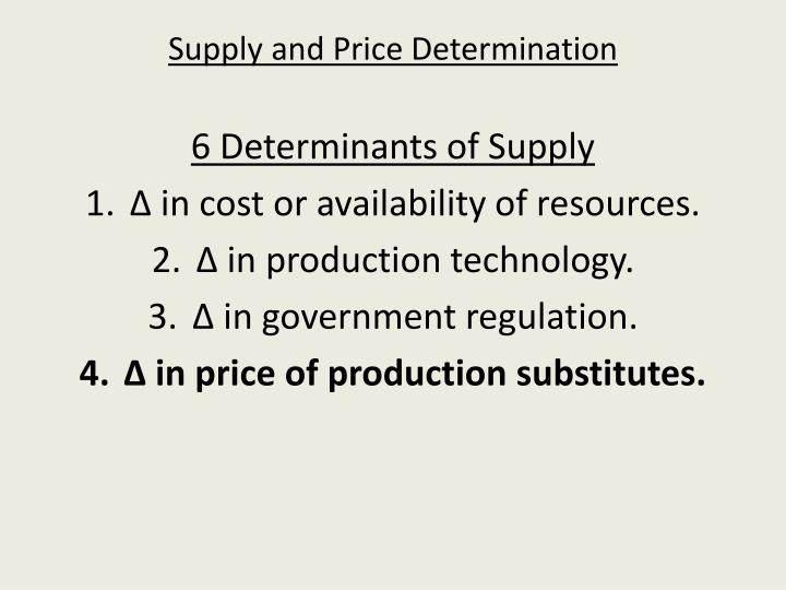 Supply and Price Determination