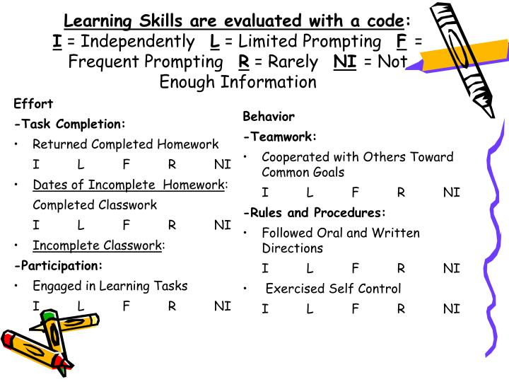 Learning Skills are evaluated with a code