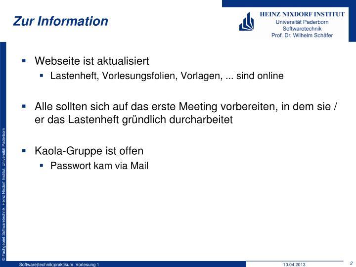 Zur Information