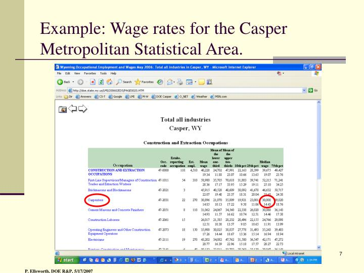 Example: Wage rates for the Casper Metropolitan Statistical Area.