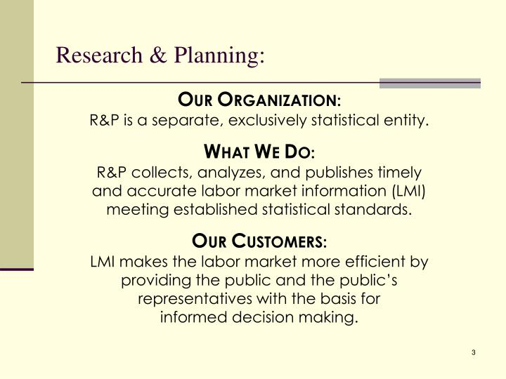 Research & Planning: