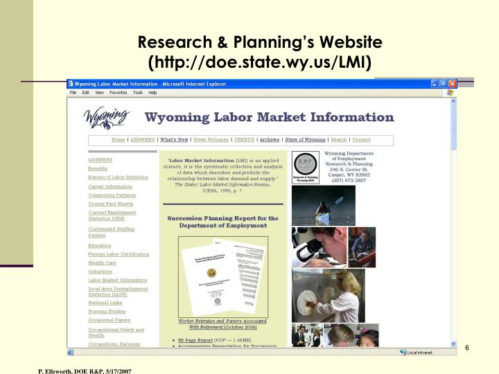Research & Planning's Website