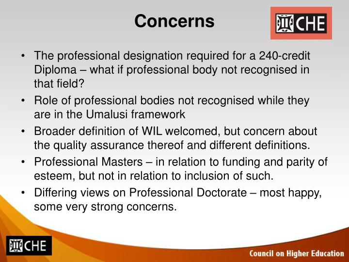 The professional designation required for a 240-credit Diploma – what if professional body not recognised in that field?