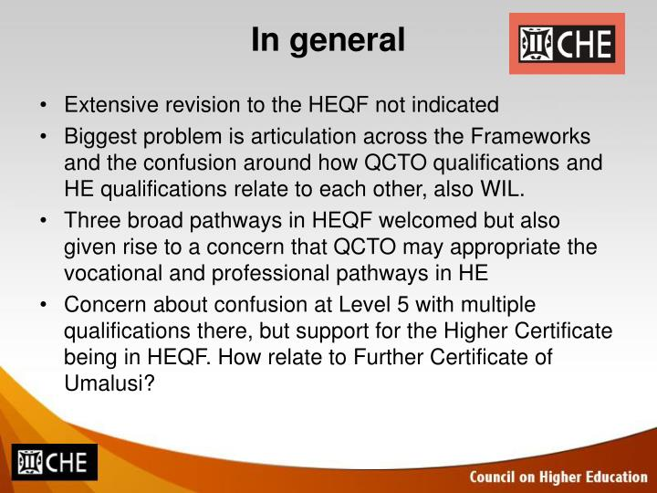 Extensive revision to the HEQF not indicated