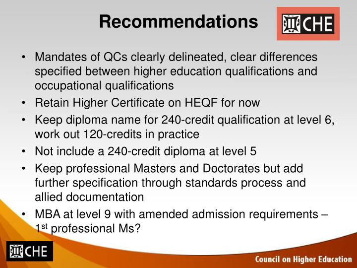 Mandates of QCs clearly delineated, clear differences specified between higher education qualifications and occupational qualifications