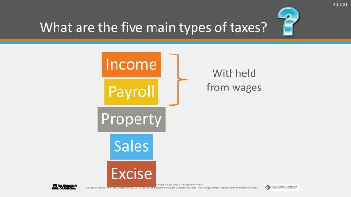 What are the five main types of taxes?