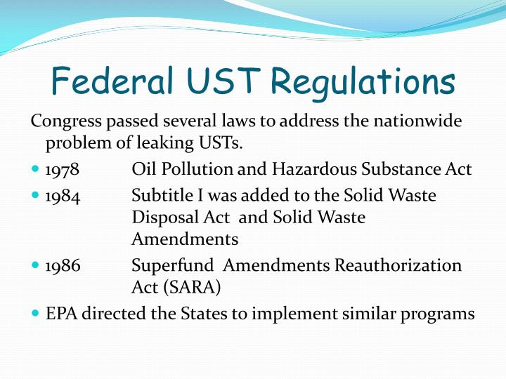Federal UST Regulations