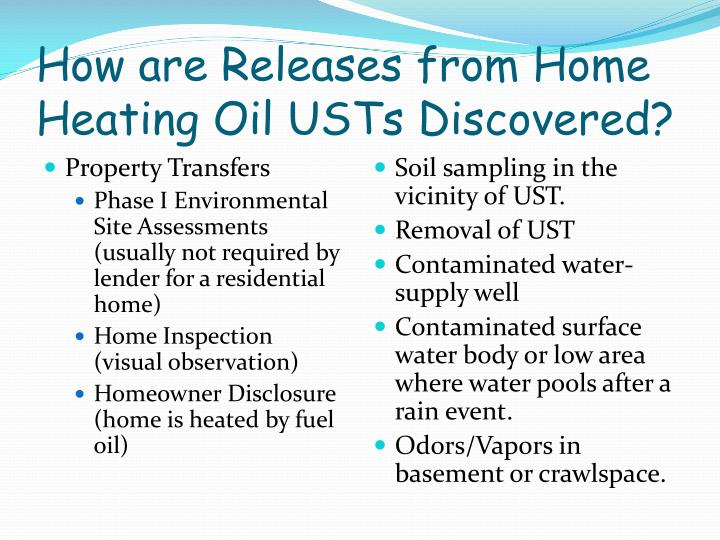 How are Releases from Home Heating Oil USTs Discovered?