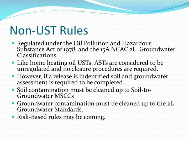 Non-UST Rules