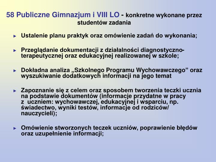 58 Publiczne Gimnazjum i VIII LO