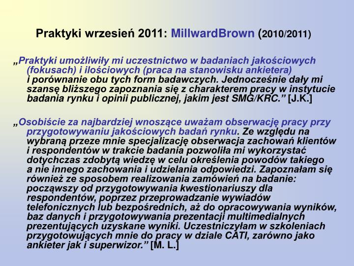 Praktyki wrzesień 2011:
