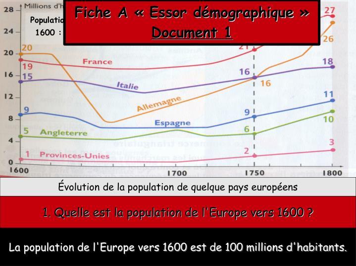 Fiche A «Essor démographique»